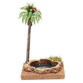 Musgo, líquenes, plantas.: Palma con oasis para belén 8-10 cm