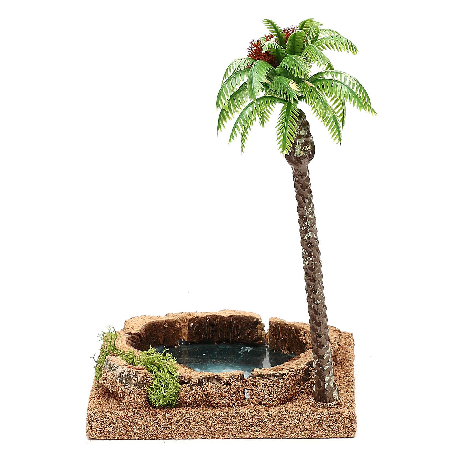 Palma con oasi per presepe 8-10 cm 4