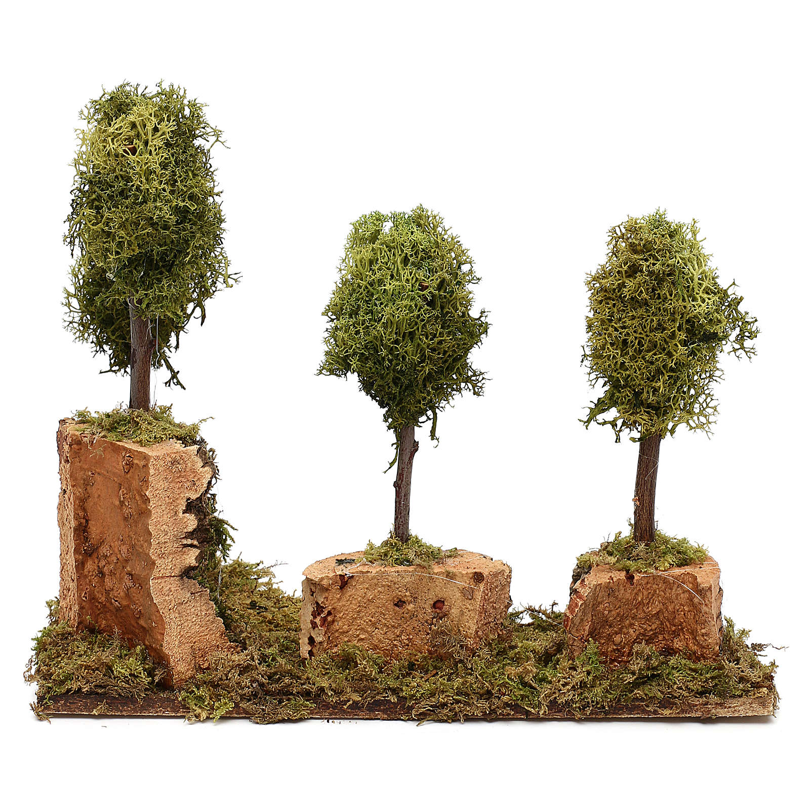 Grove with 4 trees in wood and moss, suitable for Nativity Scene of 8 cm 4