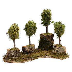 Grove with 4 trees in wood and moss, suitable for Nativity Scene of 8 cm s2