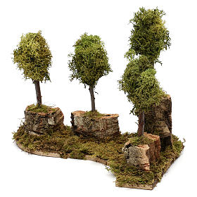Grove with 4 trees in wood and moss, suitable for Nativity Scene of 8 cm s3