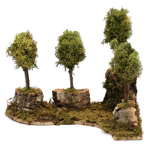 Grove with 4 trees in wood and moss, suitable for Nativity Scene of 8 cm 1