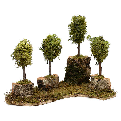 Grove with 4 trees in wood and moss, suitable for Nativity Scene of 8 cm 2
