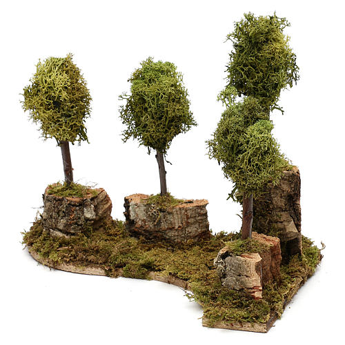 Grove with 4 trees in wood and moss, suitable for Nativity Scene of 8 cm 3