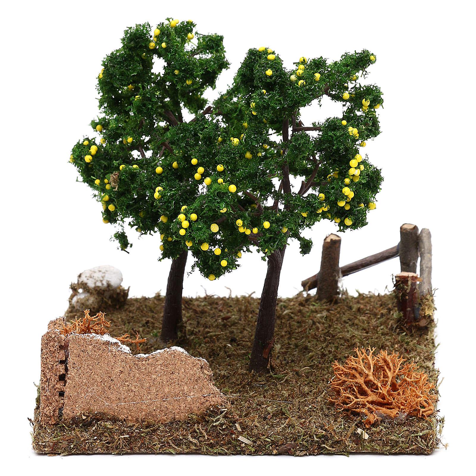 Giardino con alberi di limoni presepe 8 cm 4