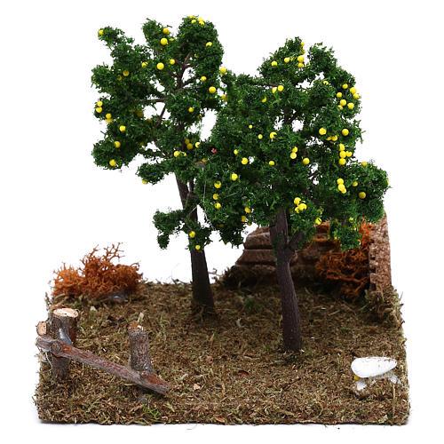 Giardino con alberi di limoni presepe 8 cm 1