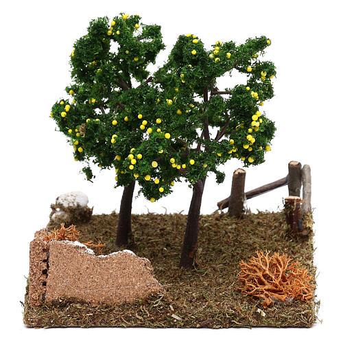 Giardino con alberi di limoni presepe 8 cm 3