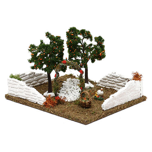 Garden with orange trees and arch for Nativity scene 8 cm 3