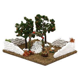Giardino con alberi di arance e arco per presepe 8 cm s3
