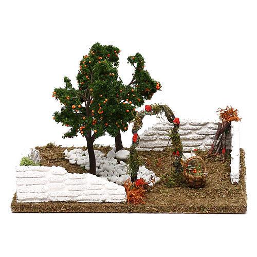 Giardino con alberi di arance e arco per presepe 8 cm 1