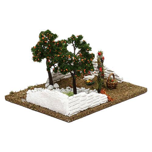 Giardino con alberi di arance e arco per presepe 8 cm 2