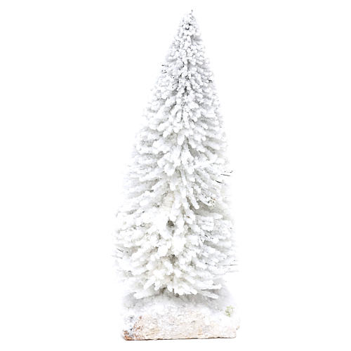 Snowy fir with cork base for Nativity scene real h. 15 cm 2