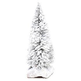 Musgo, líquenes, plantas.: Abeto nevado con base de corcho h real 15 cm