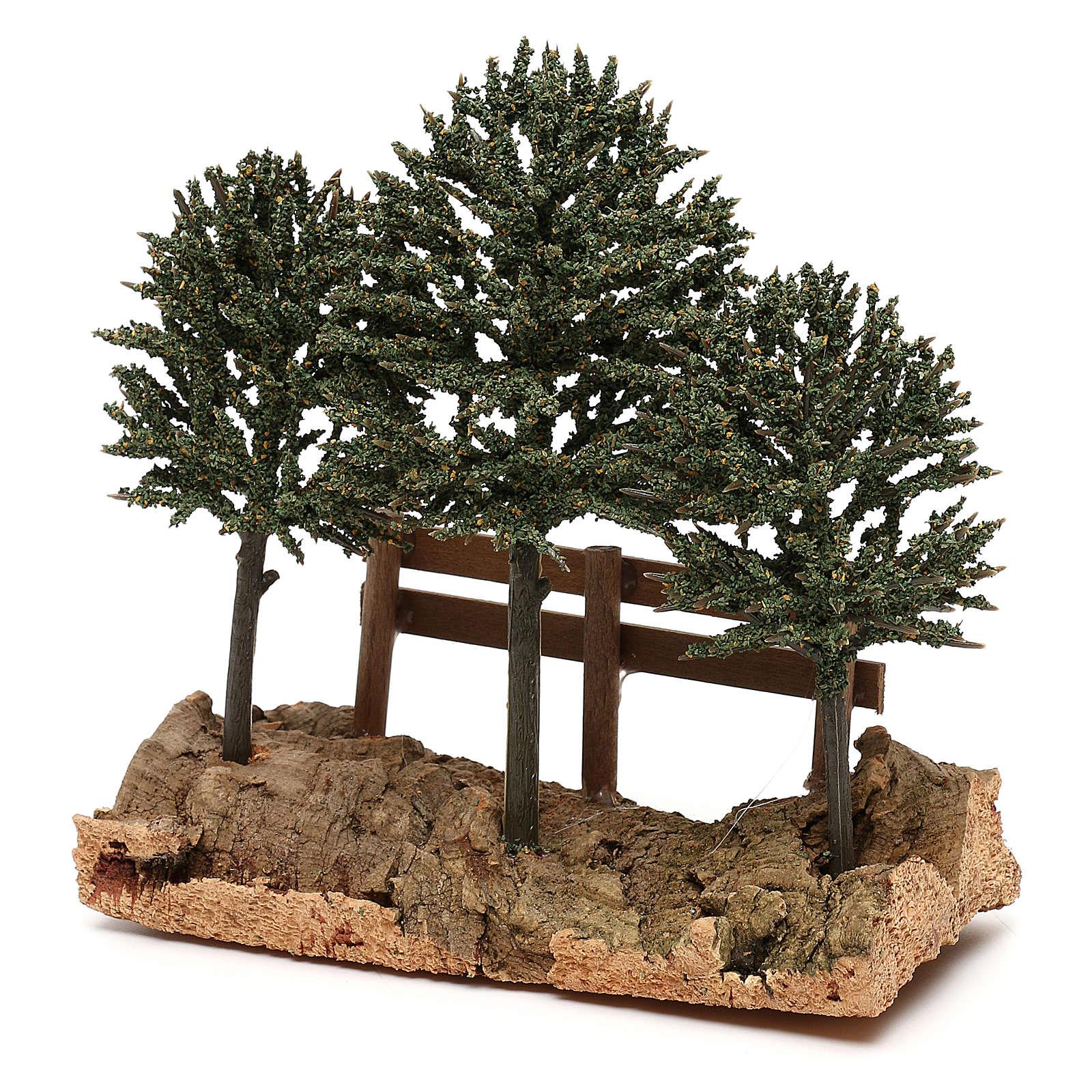 Alberi su roccia con steccato per presepe 8 cm 4