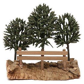 Alberi su roccia con steccato per presepe 8 cm s3