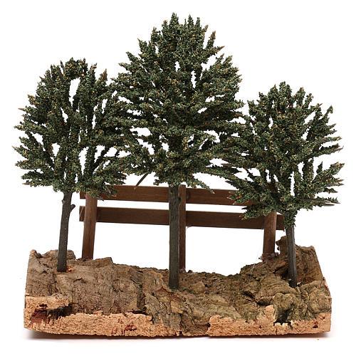 Alberi su roccia con steccato per presepe 8 cm 1
