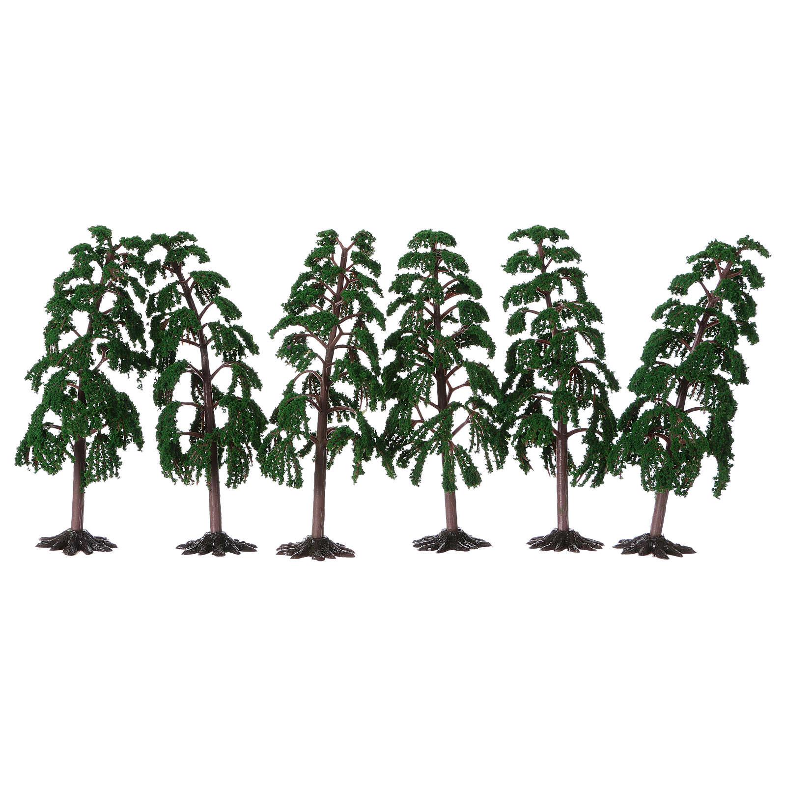 Albero verde con rami per presepe h reale 15 cm 4
