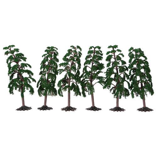 Albero verde con rami per presepe h reale 15 cm 1