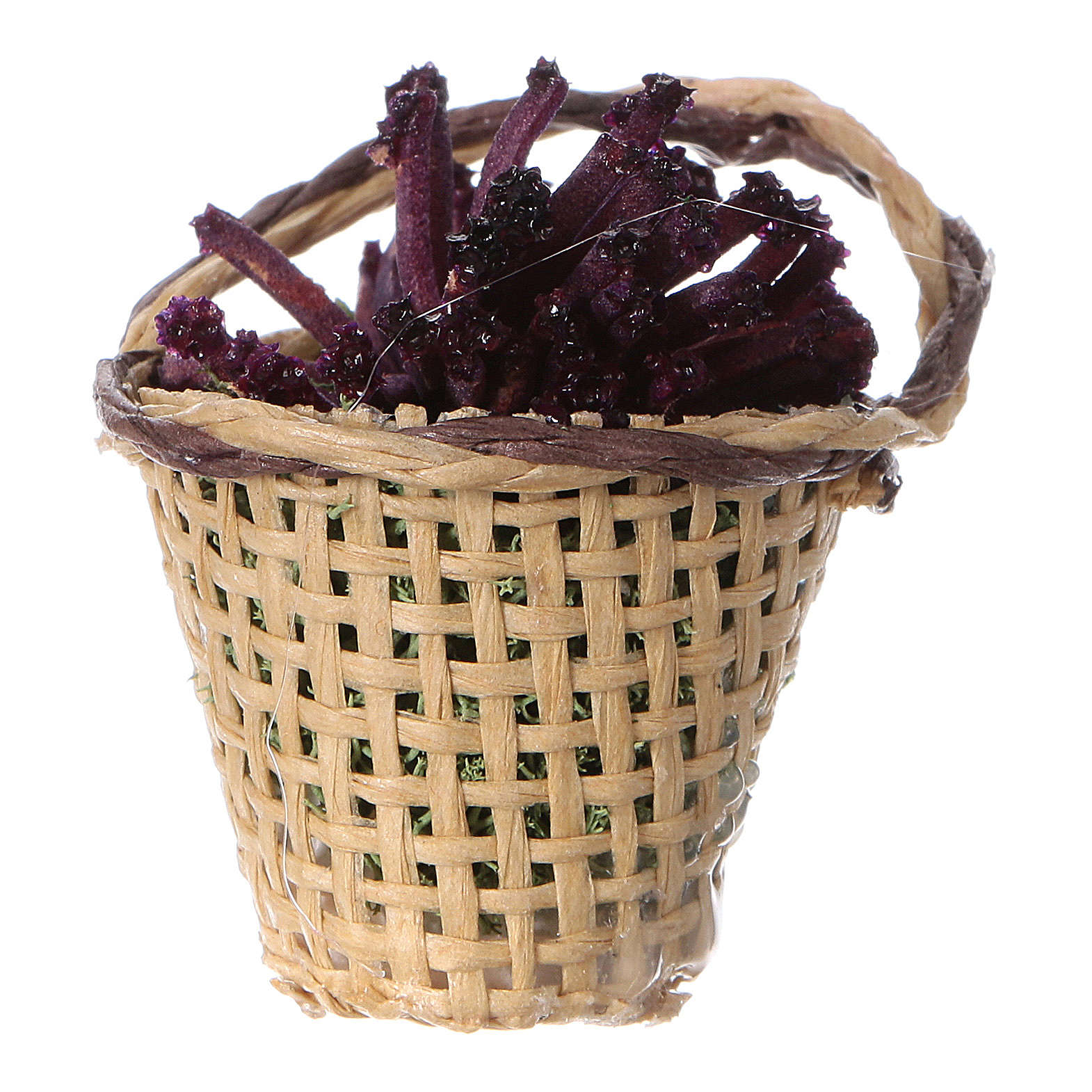 Miniature flower basket, for DIY nativity real h 4 cm 4