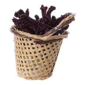 Miniature flower basket, for DIY nativity real h 4 cm s4