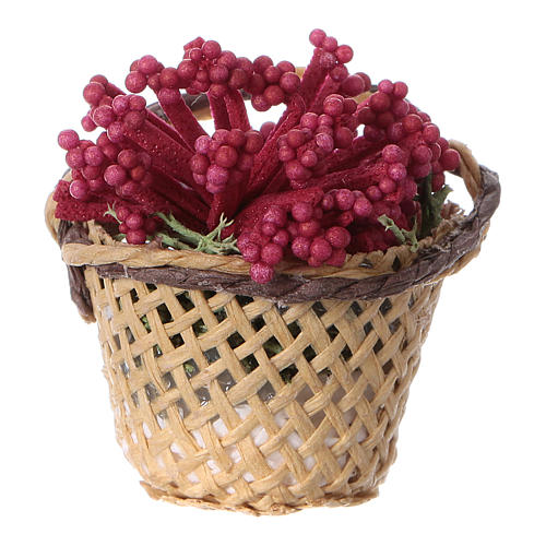 Miniature flower basket, for DIY nativity real h 4 cm 1