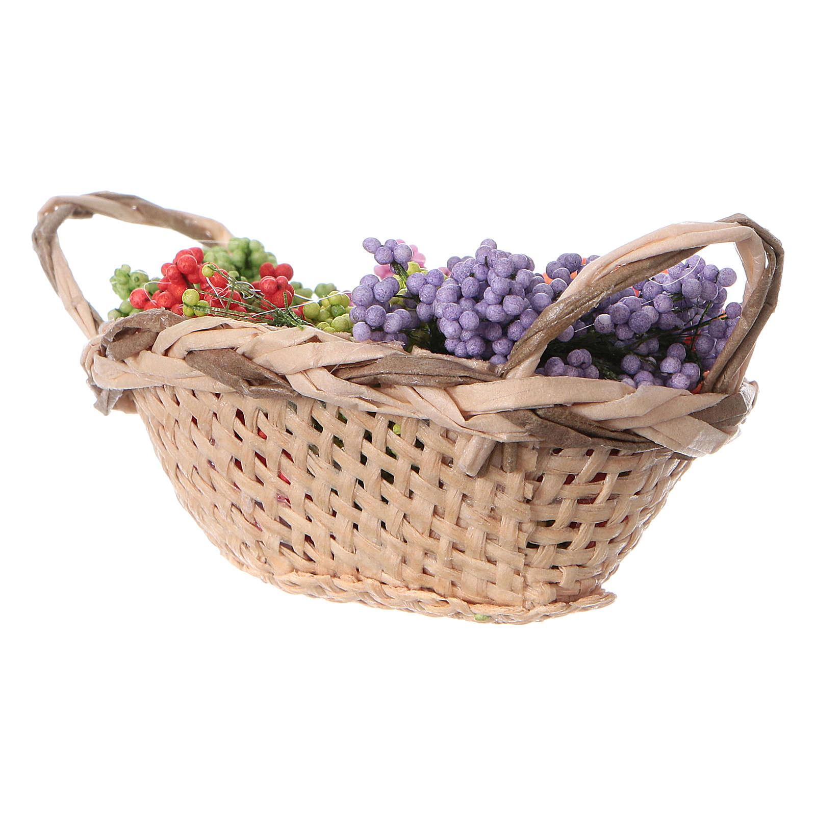 Cesta con flores para belén hecho con bricolaje h real 4 cm 4