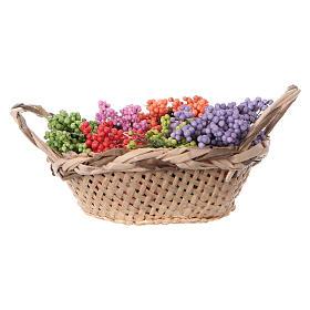 Cesta con flores para belén hecho con bricolaje h real 4 cm s1