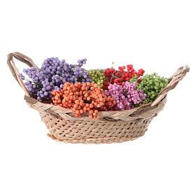 Cesta con flores para belén hecho con bricolaje h real 4 cm s3