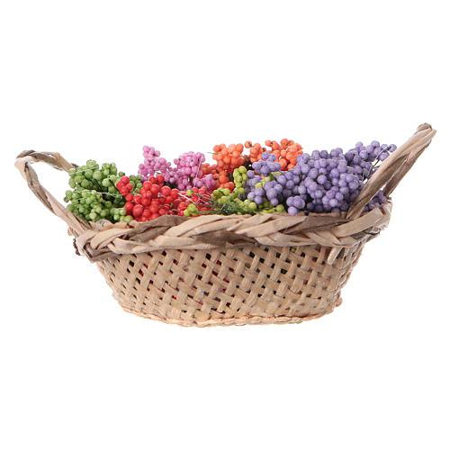 Cesta con flores para belén hecho con bricolaje h real 4 cm 1