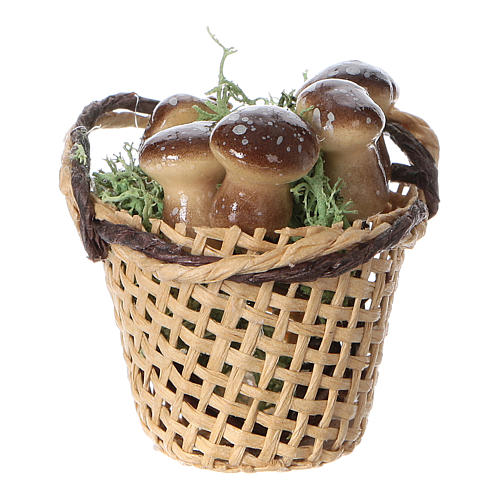 Basket with mushrooms for Nativity scene real height 4 cm 1