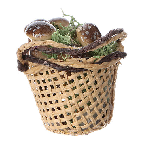 Basket with mushrooms for Nativity scene real height 4 cm 3