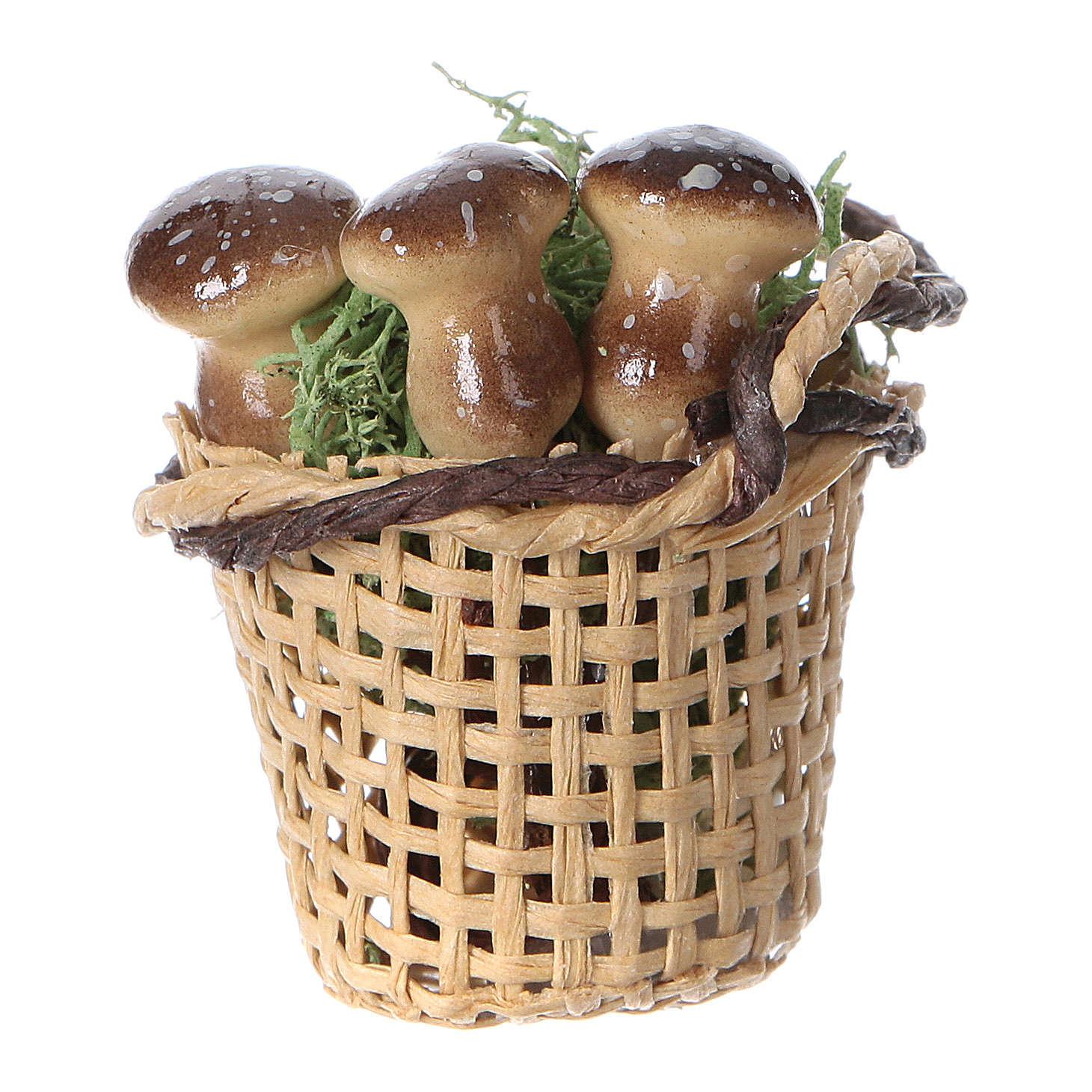 Cesta con hongos para belén hecho con bricolaje h real 4 cm 4