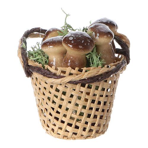 Cesta con hongos para belén hecho con bricolaje h real 4 cm 1
