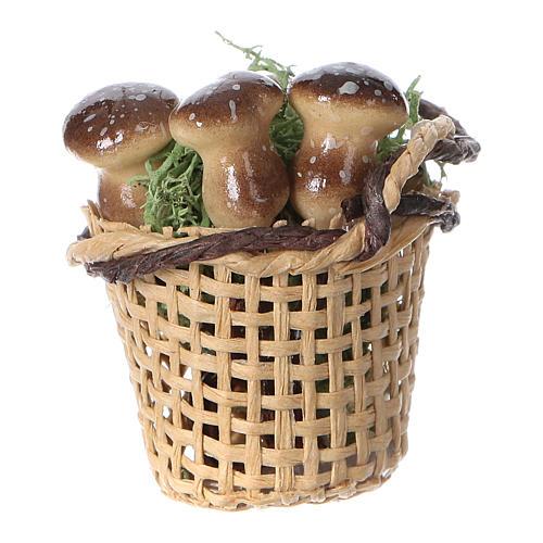 Cesto con funghi per presepe fai da te h reale 4 cm 2