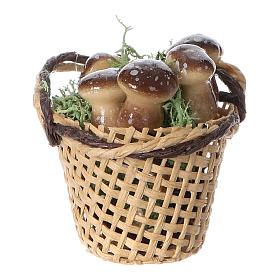 Comida em Miniatura para Presépio: Cesta com cogumelos para bricolagem presépio altura real 4 cm