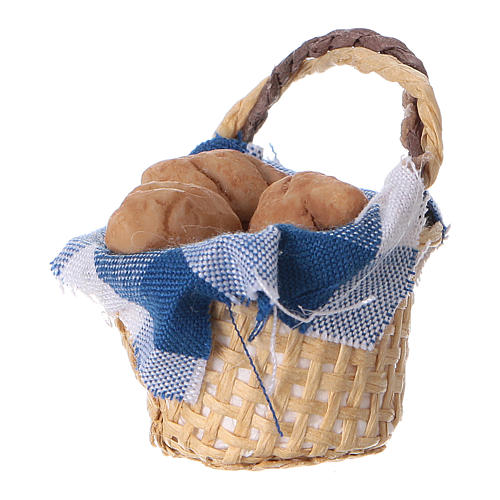 Basket with bread for DIY Nativity scene real height 4 cm 2