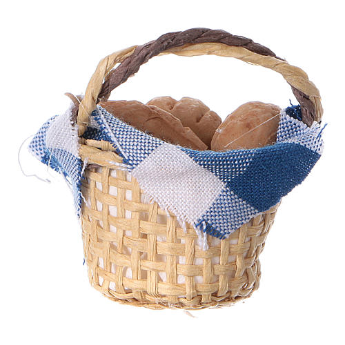 Basket with bread for DIY Nativity scene real height 4 cm 3