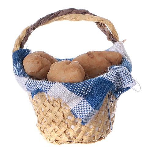Cesta con pan para belén hecho con bricolaje h real 4 cm 1