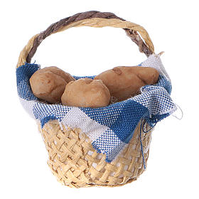 Comida em Miniatura para Presépio: Cesta com pão para bricolagem presépio altura real 4 cm