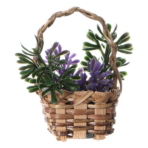 Basket with lavender for DIY Nativity scene real height 5 cm 1
