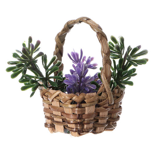 Basket with lavender for DIY Nativity scene real height 5 cm 2