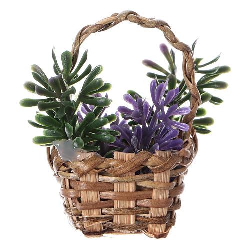 Lavender basket for DIY nativity, real h 5 cm 3