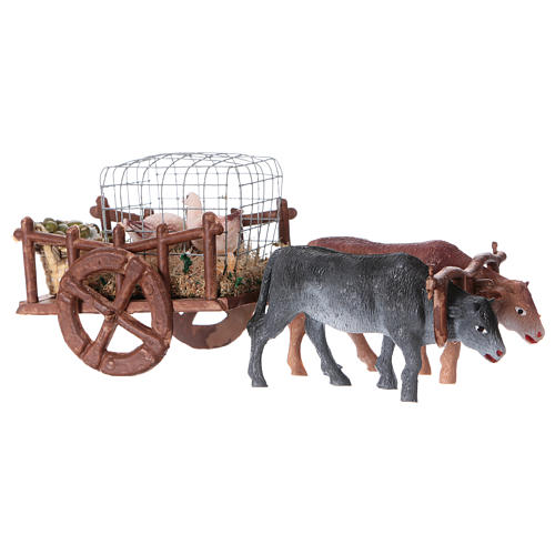 Wagon with geese and eggs 5x15x5 cm, for 5 cm nativity 3