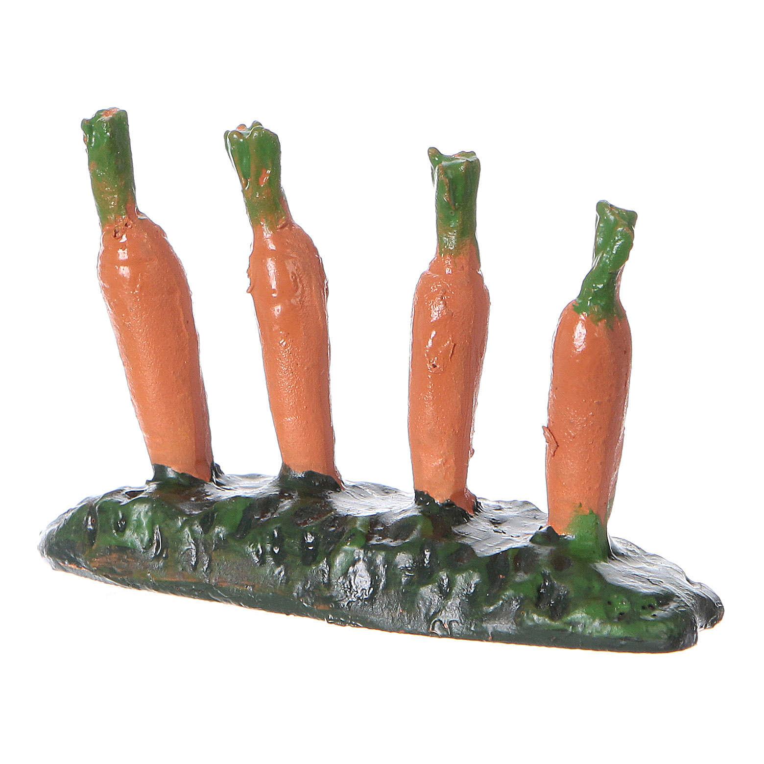 Fila di carote piantate orto 5x5x5 cm presepe 7 cm 4
