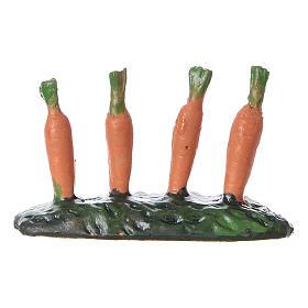 Fila di carote piantate orto 5x5x5 cm presepe 7 cm s3