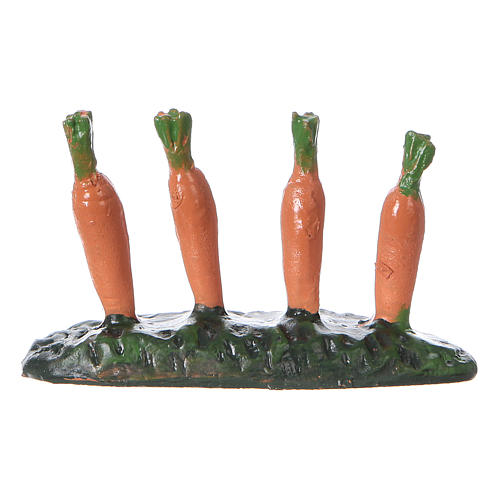 Fila di carote piantate orto 5x5x5 cm presepe 7 cm 1