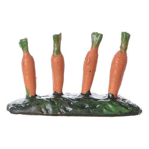 Fila di carote piantate orto 5x5x5 cm presepe 7 cm 3