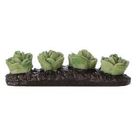 Comida em Miniatura para Presépio: Fila de saladas na horta resina 5x5x5 cm