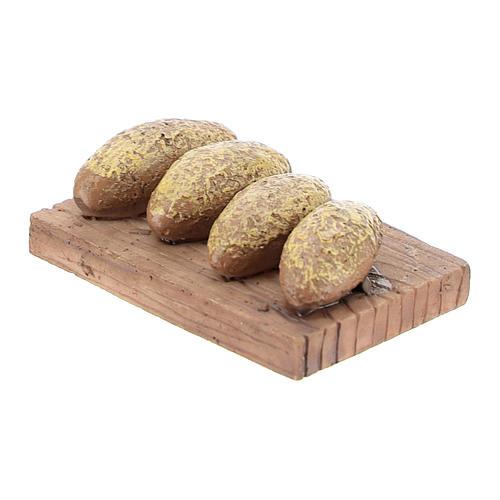Backbrett mit Broten, aus Kunstharz, 1x4x3 cm, für 8-10 cm Krippe 2
