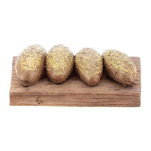 Miniature table with bread in resin, 1x4x3 cm for 6-8 cm nativity 1